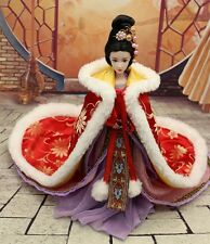 Handmade Qing Dynasty Barbie Kurhn Red Cloak w/ fur Outfit Traditional Chinese