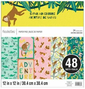 "New Recollections SAFARI ADVENTURE 12x12"" Paper Pad 48 Sheets Scrapbook Animals"