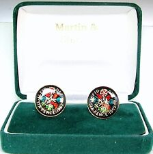 1962 Sixpence cufflinks from real coins in Black & Colours & Gold