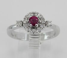 18K White Gold Diamond and Blood Red Ruby Halo Engagement Promise Ring Size 7.25