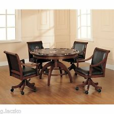 Game Table Poker Round Chairs Coaster Turk Pedestal 5 Pc Set Empire Card Consol
