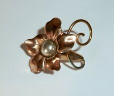 """Vintage Bal-Ron Gold-Fill - Trumpet Flower Rose-Gold & Silver Pin - 1 1/8"""""""