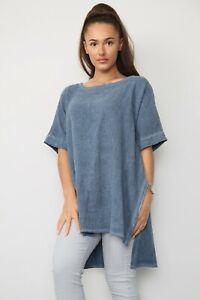 New Ladies Italian Casual Lagenlook Boxy Split Sides Scoop Neck Cotton Tunic Top