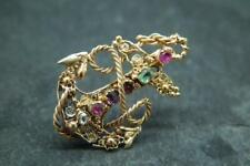 Beautiful Antique Georgian Gold Acrostic Gemstone 'Regard' Anchor Brooch/Pin
