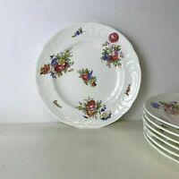 "Set of 7 Vintage Coalport Sevres Group Floral 8 3/8"" Luncheon Plates, England"