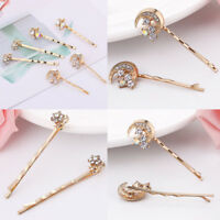 Fashion Women Lady Rhinestone Crystal Gold Hair Clip Barrette Hairpins New