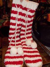 Margaritaville Mukluk Knit Slipper Socks Red & White Womens Size M 7/8