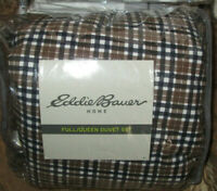 EDDIE BAUER Queen Duvet Set 3PC PLAID  CABIN KHAKI brown black