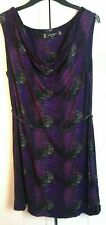 BEN DE LISI DRESS -Size 16 - Purple Patterned Jersey -  Sleeveless Shift Tunic M
