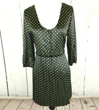 Vera Wang Princess Polka Dot Satin Dress 5 Black Sheer Pleated Split Sleeve