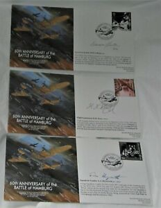 WWII RAF Lancaster Battle of Hamburg Signed Crew First Day covers set of 3