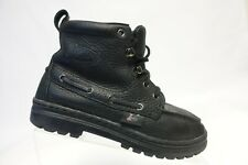 JUSTIN BOOTS Leather Black Sz 5.5 M Women Work Ankle Boots