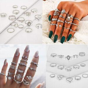 Boho Rings boho style sterling silver Silver ring midi rings flower ring set festival Daisy ring stacking ring silver stacking ring
