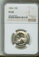 1964 25c Washington Quarter Silver Proof NGC PF68 4521335-039