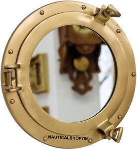 "17"" Brass Finish Porthole Nautical Maritime Ship Boat Wall Mirror Home Decor"