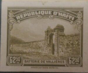 L) 1944 HAITI, BATTERY OF VALLIÈRES, DIE PROOFS, AMERICAN BANK NOTE, CARDBOARD