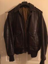 Vintage SCHOTT NYC Brown Leather Bomber Flight Motorcycle Cafe Jacket Men's 48