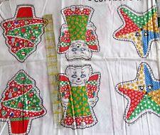"Vtg 60s Christmas Calico Cat Angel Ornament cotton fabric panel 7"" star"
