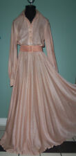 FABULOUS! Vtg Anne Klein MAUVE Metallic SWEEPING 172 INCH Skirt Shirt DRESS 12