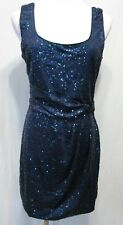 LOVE REIGN Navy Blue Sequined Party Cocktail Dress Sleeeveless Scoop Neck L EUC