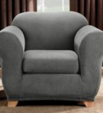 Sure Fit Chair Slipcover in Stretch Stripe Gray for Box Style Seat Cushion 2 Pc