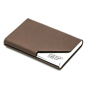 PERSONALIZED BROWN LEATHERETTE BUSINESS CARD CREDIT CARD HOLDER ENGRAVED FREE