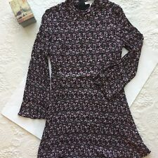 Love Fire Long Sleeve Floral Lined Rib Knit Band Collar Back Zip Dress-Size L