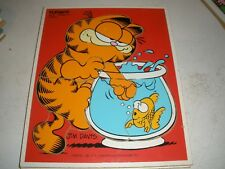 "VINTAGE GARFIELD ""LUNCH"" PLAYSKOOL Wooden Tray Jigsaw Puzzle 1978 FISHBOWL"