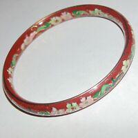 Vintage Chinese style floral cloisonne enamel cinnabar red color bangle bracelet