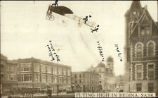 Monoplane Airplane Flying High Regina Saskatchewan Real Photo Postcard dcn