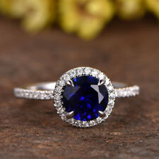 2.70 Ct Natural Diamond Natural Blue Sapphire Ring Sterling Silver Size N M J O