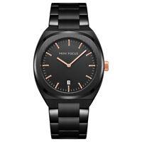 Luxury Mens Black Tone Watch Stainless Steel Band Quartz Analog Wrist Watch Date