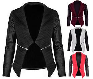 Womens Ladies Quilted Zip Detail Waterfall Blazer Jacket PU Wet Look Arms Blazer