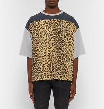 Saint Laurent Oversized Leopard Print Panelled Cotton T-Shirt - XS