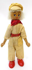 Vintage Wooden Polish Doll Factory Worker Jumpsuit