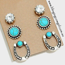 Turquoise Silver Plated Stud Fashion Earrings