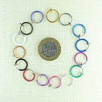 Fake Faux Clip On Circle Hoop Loop Ring Nose Lip Earring NON-PIERCED 13mmGift UK
