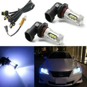 Set Ice Blue 100W LED DRL High Beam Running Light Bulbs for Lexus Toyota Mazda