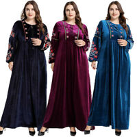 Arab Velvet Abaya Embroidery Jilbab Muslim Women Maxi Dress Gown Dubai Kaftan