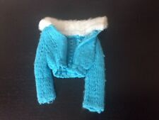 Vintage Barbie Blue Knit Sweater with White Fur Collar