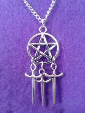 Pentagram and Athame Necklace * Dream Catcher Pagan Sword Wicca Dagger Star