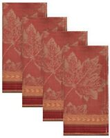 NEW Emmerson 4pk Fall Autumn Harvest Jacquard Fabric Dinner Napkins Leaf Design