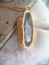 ANTIQUE VINTAGE GOLD GEMSTONE GEODE AGATE GEMSTONE PENDANT AND CHAIN NECKLACE