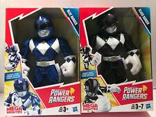 "Lot of 2 Mega Mighties Power Rangers: Black Ranger & Blue Ranger 10"" Figures NIB"