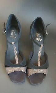 """Size 7 Ballroom Latin Dance Shoes Roch Valley Volupta 2.5"""" Heel Black/Gold Suede"""