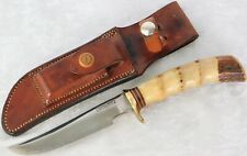 "VTG 1950's RANDALL KNIFE #4-5"" 7 SPACER STAG W/HEISER SHEATH BROWN BUTTON"