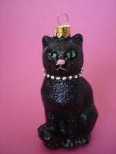 CHRISTMAS ORNAMENT BLACK KITTY CAT RHINESTONE NECKLACE ROYALTY CAT GLASS NEW