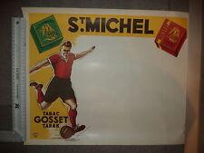 Ancienne Affiche publicitaire Tabac st michel avec footballeur an'50 TBE