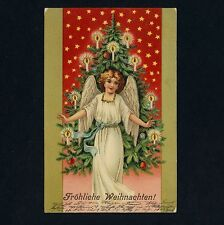 Weihnachten ENGEL & BAUM / ANGEL & TREE X-Mas * Vintage 1900s PC Litho