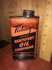 Vintage FIEBINGS PRIME NEATSFOOT OIL COMPOUND 8oz Tin.Milwaukee WI